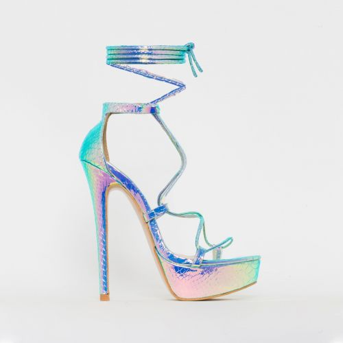 Bethany Silver Iridescent Snake Print Lace Up Platform Heels