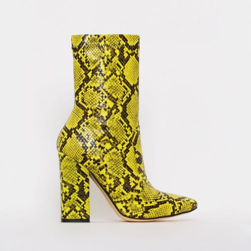Tanya Yellow Snake Print Block Heel Ankle Boots