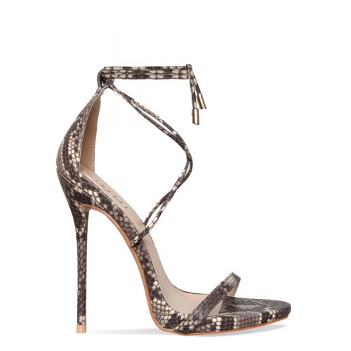 Shania Beige Snake Lace Up Stiletto Heels