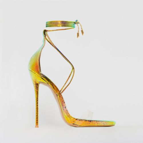 Shania Rose Iridescent Snake Print Clear Lace Up Stiletto Heels