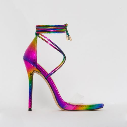 Shania Multi Rainbow Snake Print Lace Up Stiletto Heels
