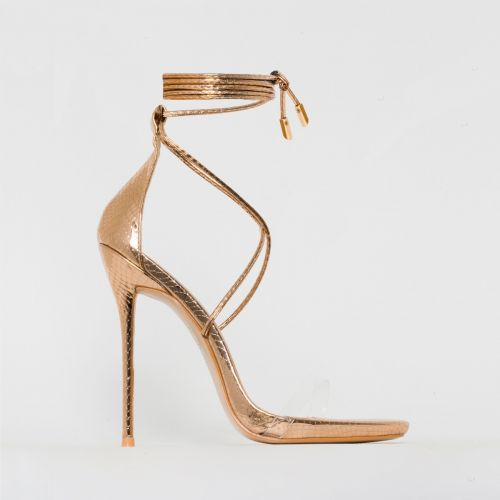 Shania Rose Gold Snake Print Clear Lace Up Stiletto Heels