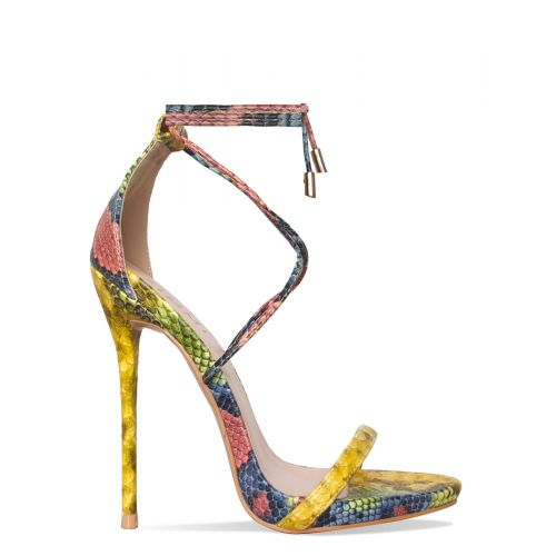 Shania Yellow Snake Lace Up Stiletto Heels