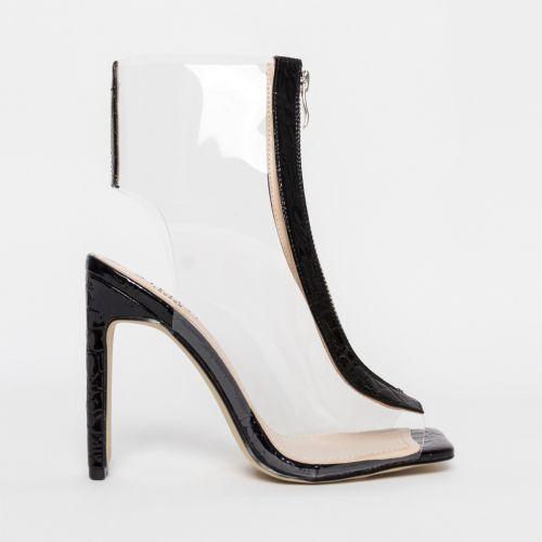 Aisha Black Patent Croc Clear Zip Ankle Boots