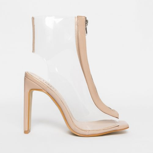Aisha Nude Patent Clear Zip Ankle Boots
