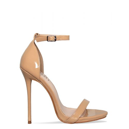 Kim Latte Patent Barely There Stiletto Heels