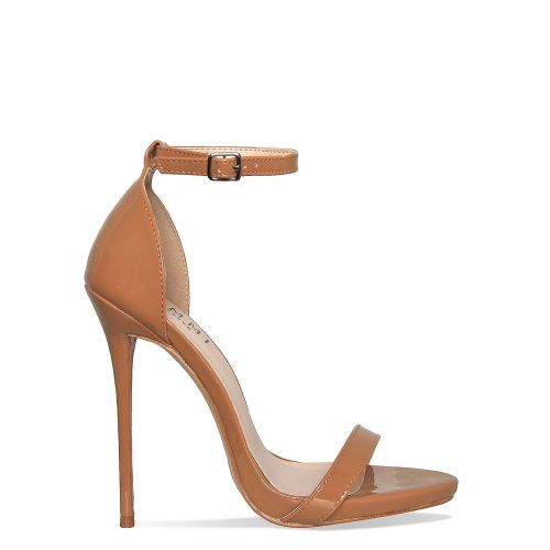 Kim Caramel Patent Barely There Stiletto Heels