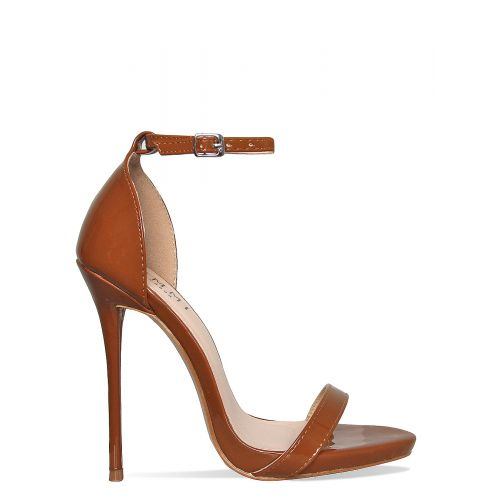 Kim Espresso Patent Barely There Stiletto Heels