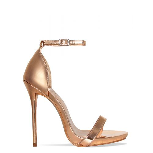 Selma Rose Gold Barely There Stiletto Heels