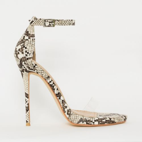 Elsie Beige Snake Print Barely There Stiletto Heels