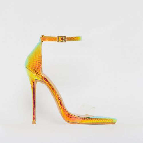 Elsie Rose Iridescent Snake Print Barely There Stiletto Heels