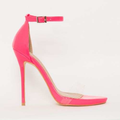 Elsie Neon Pink Patent Barely There Stiletto Heels