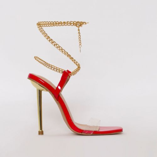 Amarissa Red Patent Clear Chain Heels
