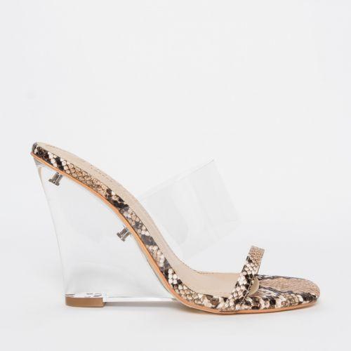Sierra Beige Snake Clear Wedge Heels
