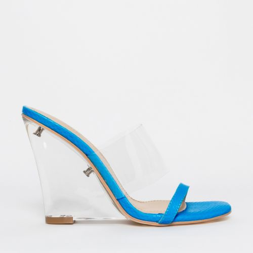 Sierra Blue Snake Clear Wedge Heels