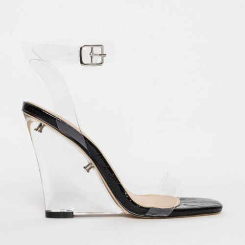 Shae Black Patent Croc Clear Wedge Heels