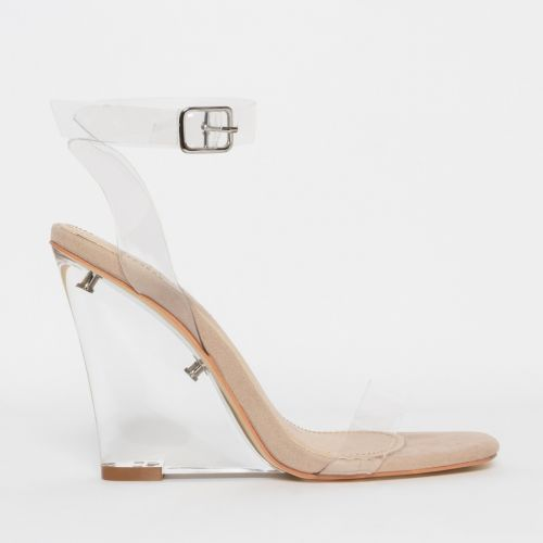 Shae Nude Suede Clear Wedge Heels