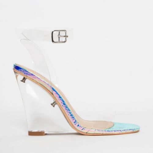 Shae Rainbow Snake Clear Wedge Heels