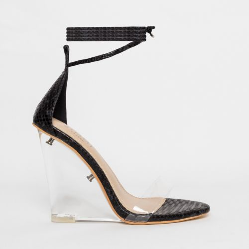 Nelly Black Snake Clear Lace Up Wedges