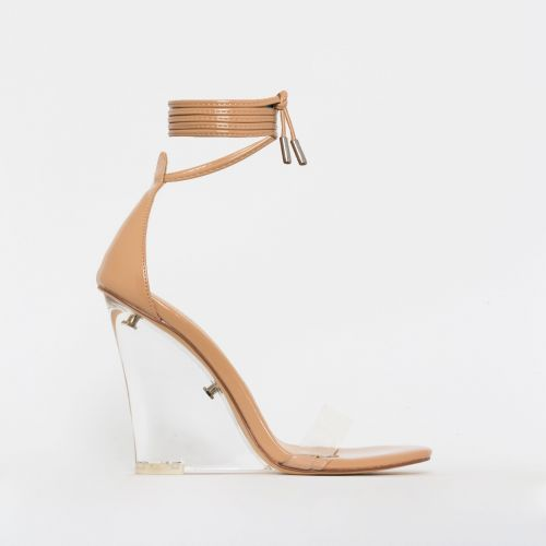 Nelly Nude Patent Clear Lace Up Wedges