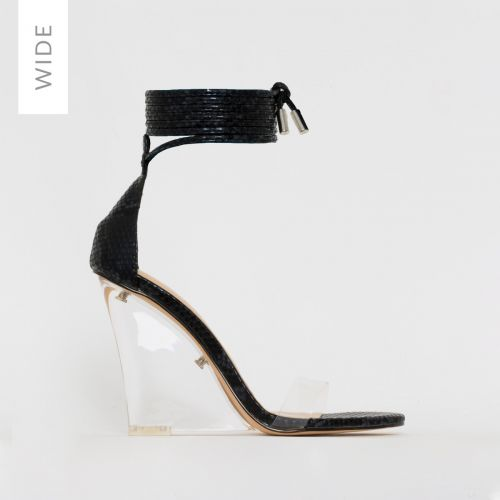 Nelly Wide Fit Black Snake Print Clear Lace Up Wedges