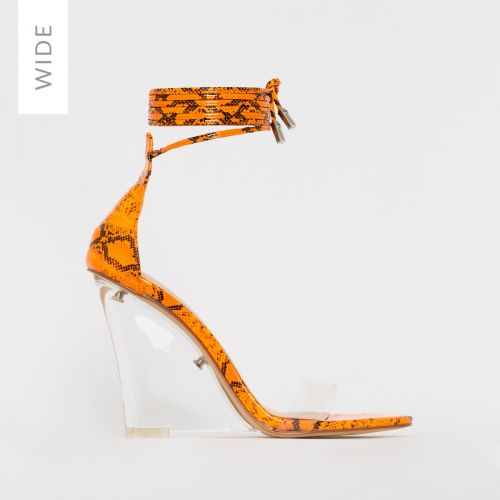 Nelly Wide Fit Orange Patent Snake Print Clear Lace Up Wedges