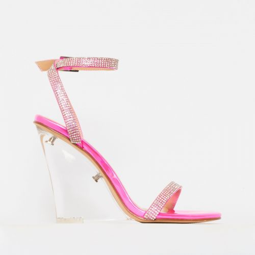 Alesha Pink Iridescent Clear Diamante Wedge Heels