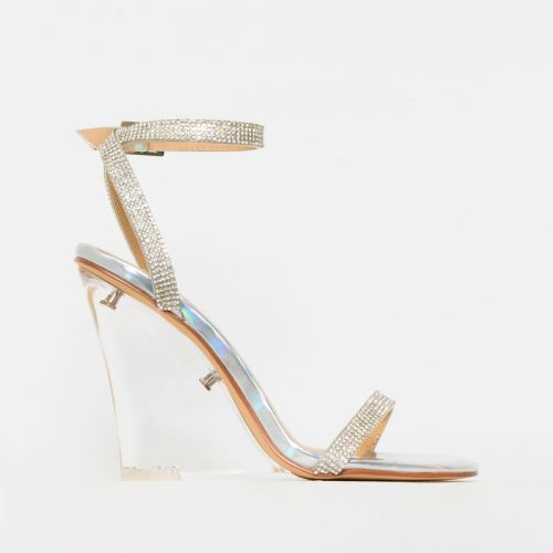 Alesha Silver Iridescent Clear Diamante Wedge Heels