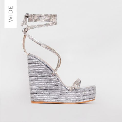 Ciara Wide Fit Silver Diamante Lace Up Espadrille Wedges