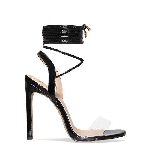 Ella Black Clear Lace Up Heels