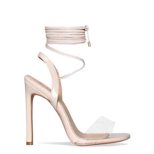 Ella Nude Clear Lace Up Heels