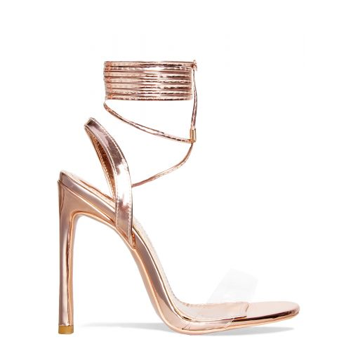 Ella Rose Gold Clear Lace Up Heels