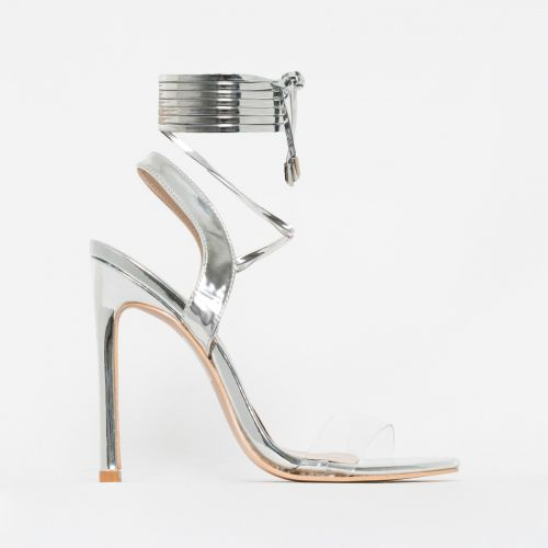 Ella Silver Metallic Clear Lace Up Heels
