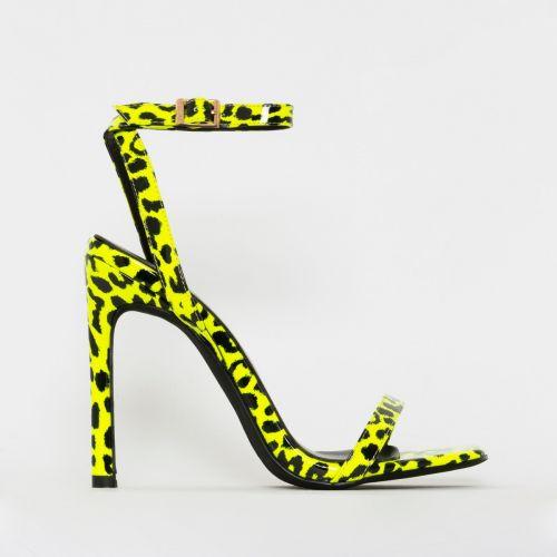 Hana Yellow Patent Leopard Print Strappy Heels