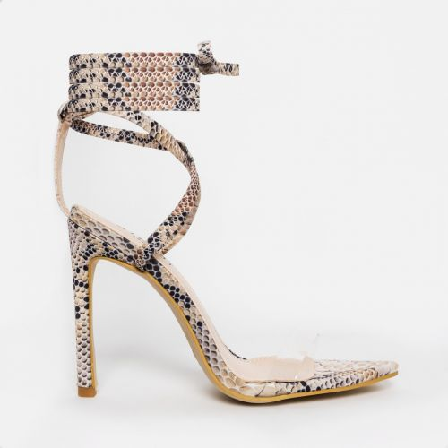 Zana Beige Python Lycra Lace Up Clear Stiletto Heels