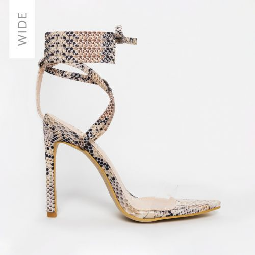 Zana Wide Fit Beige Python Lycra Lace Up Clear Stiletto Heels
