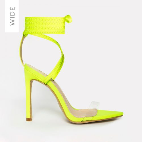 Zana Wide Fit Neon Yellow Lycra Lace Up Clear Stiletto Heels