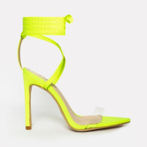 Zana Neon Yellow Lycra Lace Up Clear Stiletto Heels