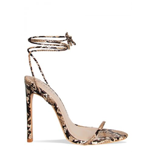 Shayla Beige Snake Lace Up Stiletto Heels