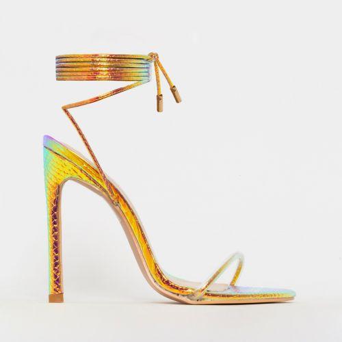 Shayla Rose Iridescent Snake Print Lace Up Stiletto Heels