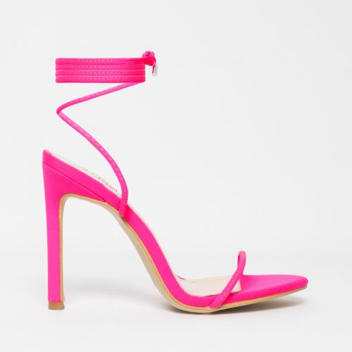 Shayla Neon Pink Lycra Lace Up Stiletto Heels