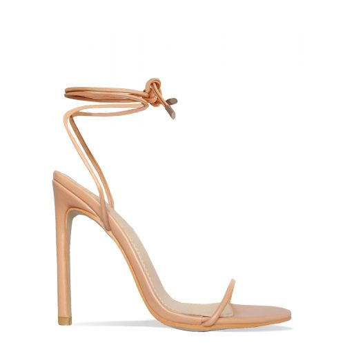 Shayla Nude Lace Up Stiletto Heels