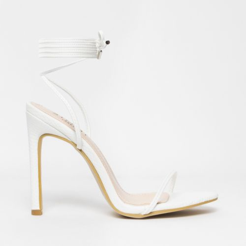 Shayla White Snake Lace Up Stiletto Heels