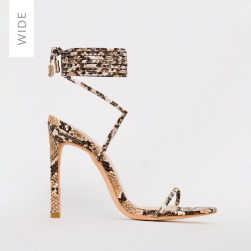 Shayla Wide Fit Beige Snake Lace Up Stiletto Heels