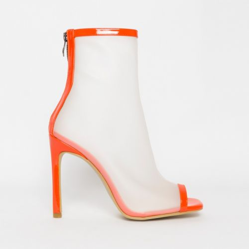 Gabby Orange Patent Frost Peep Toe Ankle Boots