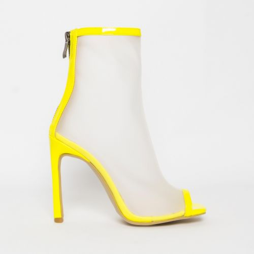 Gabby Yellow Patent Frost Peep Toe Ankle Boots