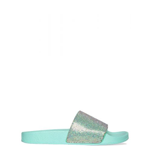 Sophia Mint Green Diamante Sliders
