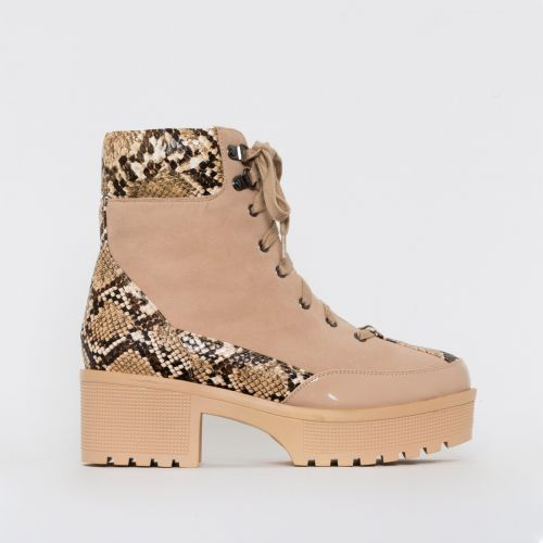Karmen Beige Snake Print Lace Up Hiking Ankle Boots