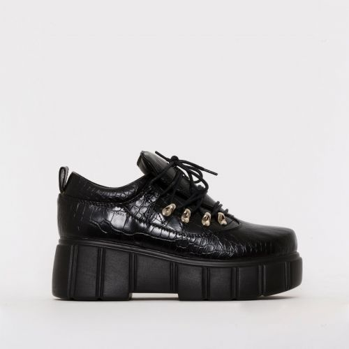 Nico Black Croc Print Lace Up Flatforms