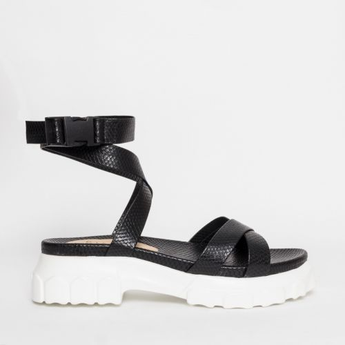 Shiloh Black Snake Chunky Sandals